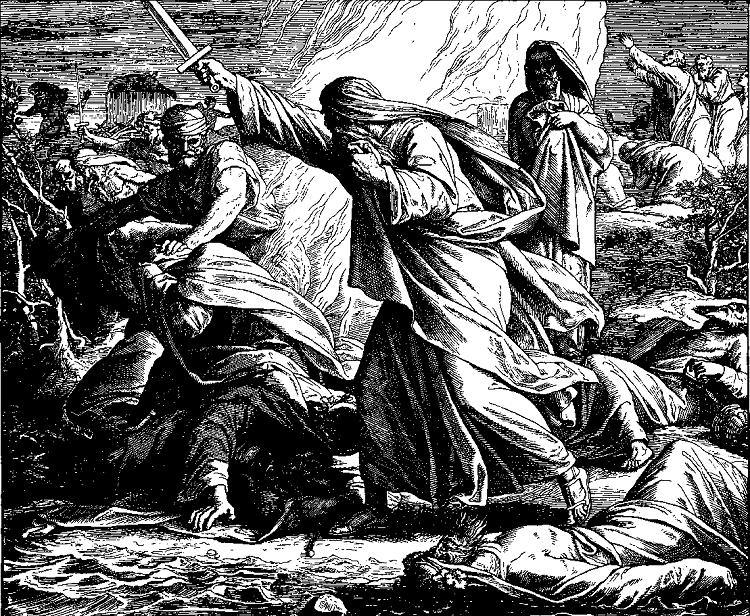 Matanza de los profetas de Baal, xilografía de 1860 por Julius Schnorr von Karolsfeld