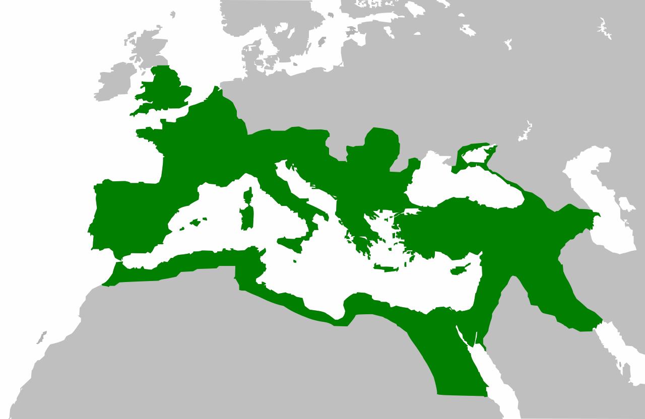 El Imperio romano en su apogeo bajo Trajano.